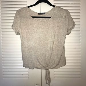 Basic Cream T-shirt with Tie-up Front